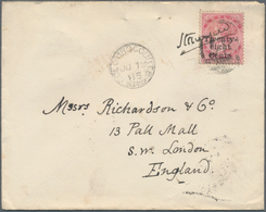 Ceylon / Sri Lanka: 1885. Envelope Addressed To England Bearing SG 168, 28c On 48c Rose Tied By '87' - Sri Lanka (Ceylon) (1948-...)