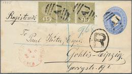 Ceylon / Sri Lanka: 1888/1892, Two Postal Stationery Items To Germany, With 1) 1887 P/s Envelope 5c. - Sri Lanka (Ceylon) (1948-...)