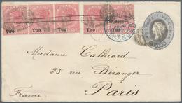 Ceylon / Sri Lanka: 1892. Ceylon Postal Stationery Envelope 'Five Cents' Grey Upgraded With SG 203, - Sri Lanka (Ceylon) (1948-...)