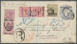 "Ceylon / Sri Lanka: 1893, Postal Stationery Envelope ""FIVE CENTS"" On 4c. Blue Used Registered From C - Sri Lanka (Ceylon) (1948-...)"
