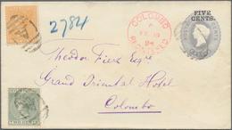 Ceylon / Sri Lanka: 1894. Ceylon Registered Postal Stationery Envelope 'Five Cents' Grey Upgraded Wi - Sri Lanka (Ceylon) (1948-...)
