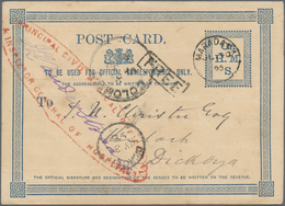 "Ceylon / Sri Lanka: 1895, Blue Official Service Postcard ""On H.M.S."" With Special Red Cachet For Pri - Sri Lanka (Ceylon) (1948-...)"