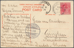 "Ceylon / Sri Lanka: 1903, 6 C Rose Single Franking On Souvenier Postcard ""Buddist Temple And Colombo - Sri Lanka (Ceylon) (1948-...)"