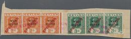 "Ceylon / Sri Lanka: 1918, 5 Strips Of 3 ""specimen"" In Blue Or Red, On UPU Album Page, Red Overprint - Sri Lanka (Ceylon) (1948-...)"