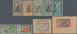 Französisch-Indien: 1941, Stamps 3 Ca - 5 R, 9 Values With Inverted Coloured Imprints, (Maury€1.270) - Covers & Documents
