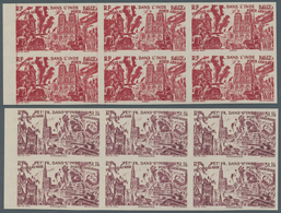 """Französisch-Indien: 1946, """"Du Chad A Rhin"""", Complete Set Of Six Values In Imperforate Left Marginal - Covers & Documents"""