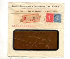 Lettre Recommandee Paris  Sur Semeuse  Voir Etiquette - Marcophilie (Lettres)