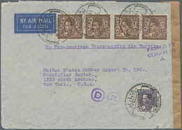 Irak: 1941. Air Mail Envelope Addressed To New York Bearing Iraq Yvert 117, 40f Violet And Yvert 118 - Irak