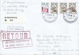 Venezuela 2000 Caracas Returned Handstamp St Petersburg Russia Registered Cover - Venezuela