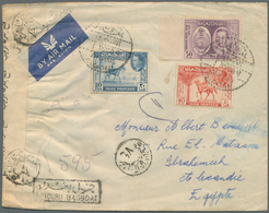 """Irak: 1949, 20 F., 40 F. And 50 F. UPU Tied """"DOUBI BAGDHAD 1 NOV 49""""to Censored Air Mail Cover To Al - Irak"""
