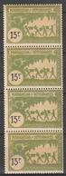 MADAGASCAR Timbre Fiscal 15frs Neuf Sans Charnière Bande De 4 - Madagascar (1889-1960)