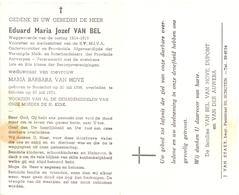 Devotie - Devotion - Doodsprentje Overlijden - Eduard Van Bel - Booischot 1896 - Schoten 1971 - Décès