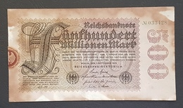 EBN8 - Germany 1923 Banknote 500 Millionen Mark P.110d Watermark G/D In Stars - [ 3] 1918-1933: Weimarrepubliek