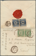 Korea: 1895/96: 5 P. Bluish Green And 10 P. Dull Blue, Each Second Printing Horizontal Pair, 5 P. Ca - Corée (...-1945)