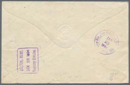 "Korea: 1897/1903, Dae Han Red Opvt. 10 P. Vertical Left Margin Pair With Falcons 15 C., 6 C. Tied ""C - Corée (...-1945)"