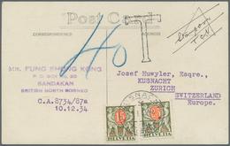 Nordborneo: 1934, Underpaid Picture Postcard From SANDAKAN To Küsnacht, Switzerland. There Taxed Wit - North Borneo (...-1963)