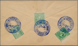 "Tibet: 1912, 1/6 T. Bluish Green (3, Inc. Bottom Left Corner Copy) Tied Blue Intaglio ""LHASA P.O."" T - Timbres"