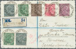 """Tibet: 1936, Yatung BPO: India ½ A. (2), 1 A., 1 ½ A., 2 A., 3 P. Tied Seven Strikes """"YATUNG TIBET V - Timbres"""