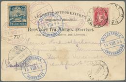 Thematik: Arktis / Arctic: 1898, Ppc (slight Tear) With Complete Set Of All SPITZBERGEN Cancellation - Polarmarken