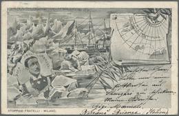 "Thematik: Arktis / Arctic: 1900, Rare Italian Ppc Showing Scenes Of The North Pole Expedition ""STELL - Polarmarken"