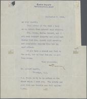 Thematik: Arktis / Arctic: 1912, ROBERT EDWIN PEARY, Signature On Typewritten Letter (Sept 3rd) To M - Polarmarken