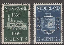 1939 Spoorwegjubileum NVPH 325-326 Gestempeld - Periode 1891-1948 (Wilhelmina)