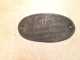 Plaque Métallique Entrepreneur Jean CHATELET  à SAINT MARTIN D' AUXIGNY  18 Cher ( Recto Verso ) - Ferronnerie