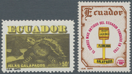 Ecuador: 1981, 50 S. Galapagos Turtle Mnh, Perforated 10.5 (instead 13), NH With 100 S. In Perforati - Ecuador