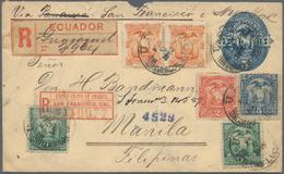 Ecuador - Ganzsachen: 1888, Envelope (faults) 5 C. Blue Uprated, 1, 2, 5 C. (UPU Tricolour) And 1 C. - Ecuador