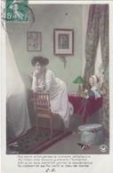 """CARTE FANTAISIE.CPA.  SÉRIE COMPLÈTE 5 CARTES. """" LE ROMAN DE L'ORPHELINE """". ANNEE 1908 - Enfants"""