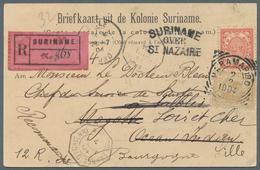 Surinam: 1904. Registered Picture Postcard Of 'Gravenstraat, Paramaribo' Addressed To France Bearing - Surinam ... - 1975