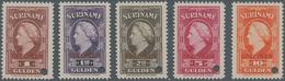 Surinam: 1945, Definitives Wilhelmina, 1gld.-10gld., Five Values With Specimen Overprint And Punchin - Surinam ... - 1975