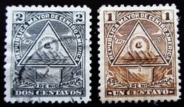 1898 Nicaragua 2 Valeurs   Coat Of Arms In A Triangle Oblitérés - Nicaragua