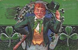 ST PATRICKS DAY MARCH 17th-MAN WEARING GREEN HAT-COAT-TIE-SHAMROCKS EMBOSSED 1911 POSTCARD 36504 - Saint-Patrick's Day
