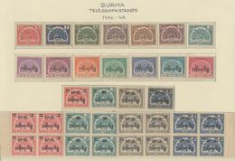 Birma / Burma / Myanmar: 1946/54, Telegraph Stamps 1 A./10 K. Resp. With Surcharge 6 Ps./13 Ps. Resp - Myanmar (Burma 1948-...)