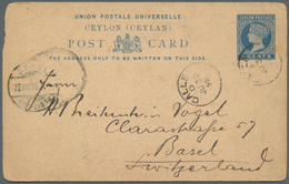 Ceylon / Sri Lanka: 1880's-1900's: Group Of 18 Postal Stationery Cards, Envelopes And Wrappers, 16 O - Sri Lanka (Ceylon) (1948-...)