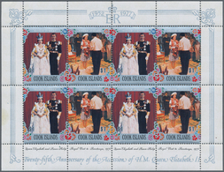 Cook-Inseln: 1977, 25th Anniversary Of The Accession Of QEII Complete Set In 38 Sheetlets Of Eight ( - Cookinseln