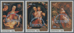 Cook-Inseln: 1986, Christmas Complete Set Of Three With Different Rubens Paintings With Silver Overp - Cookinseln