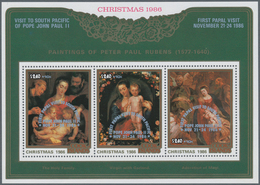 Cook-Inseln: 1986, Christmas Miniature Sheet With Three Different Rubens Paintings With Silver Overp - Cookinseln