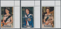 Cook-Inseln: 1987, 60th Birthday Of QEII Complete Set Of Three With Black Or Silver Opt. 'HURRICANE - Cookinseln
