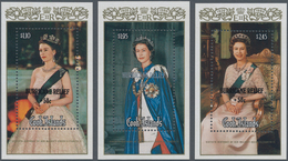Cook-Inseln: 1987, 60th Birthday Of QEII Complete Set Of Three Miniature Sheets With Black Or Silver - Cookinseln