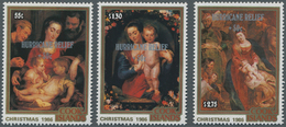 Cook-Inseln: 1987, Christmas Complete Set Of Three With Different Rubens Paintings With Silver Overp - Cookinseln