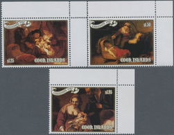 Cook-Inseln: 1987, Christmas Complete Set Of Three With Different Rembrandt Paintings Of 'The Holy F - Cookinseln
