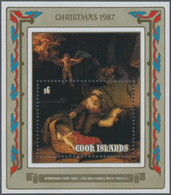 Cook-Inseln: 1987, Christmas Miniature Sheet With Rembrandt Painting 'The Holy Family With Angels' I - Cookinseln
