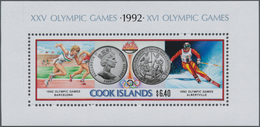 Cook-Inseln: 1991, Olympic Games 1992 In Albertville And Barcelona Miniature Sheet In A Lot With Abo - Cookinseln
