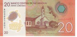 Nicaragua. Banknote. 20th Cordoba. Church. Festival. Turtle. UNC. 2014. Polymer - Nicaragua