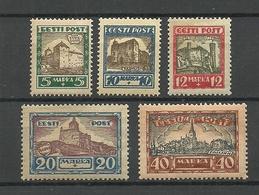 Estland Estonia 1927 Burgen Städte Michel 63 - 67 MNH - Kastelen