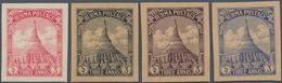 Japanische Besetzung  WK II - Burma: 1943, Pagoda Trial Printing 3a In Four Different Colours, Unuse - Myanmar (Burma 1948-...)