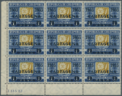 Kolumbien: 1933, Definitive Issue 1p. Blue/olive-yellow 'Gold' With Black Opt. '1533 1933 CARTAGENA' - Kolumbien