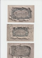REPRESENTATION BILLET DE BANQUE - BRUXELLES - BANQUE NATIONALE  - 50 - 100 ET 500 FR - 2 CPA ECRITES ET 1 VIERGE - Monnaies (représentations)